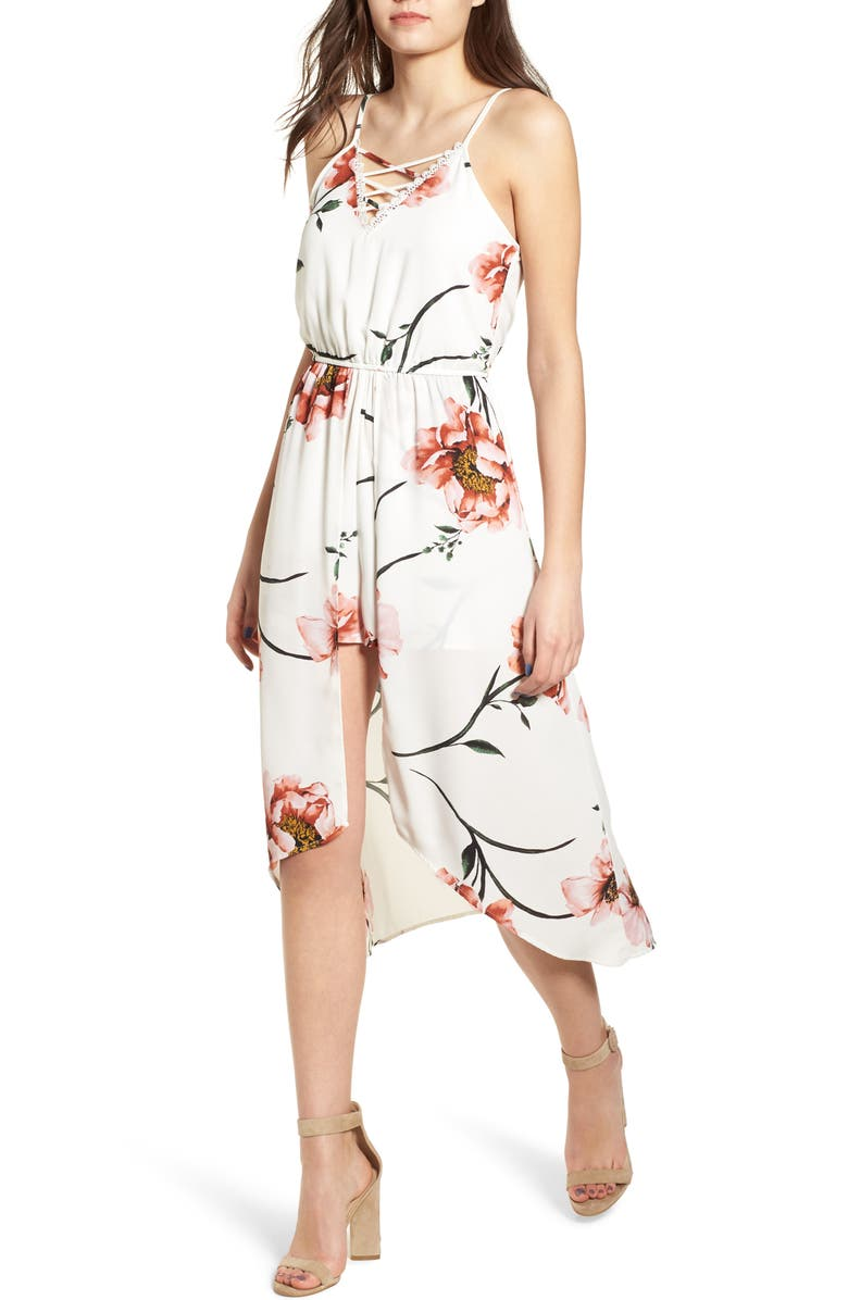 ROW A Floral High/Low Dress, Main, color, 900