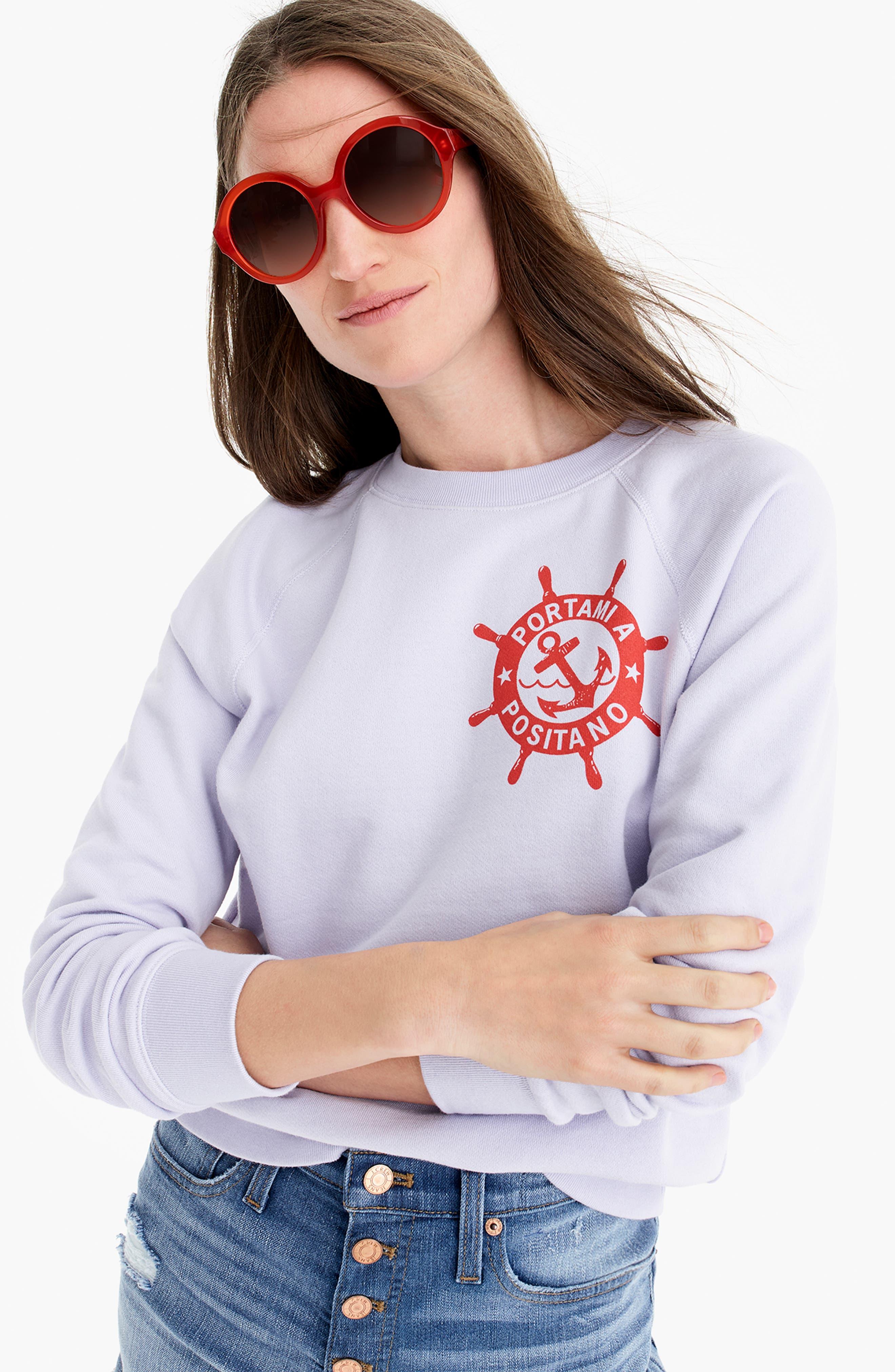 ,                             Portami a Positano Raglan Sweatshirt,                             Alternate thumbnail 5, color,                             SWEET HYACINTH