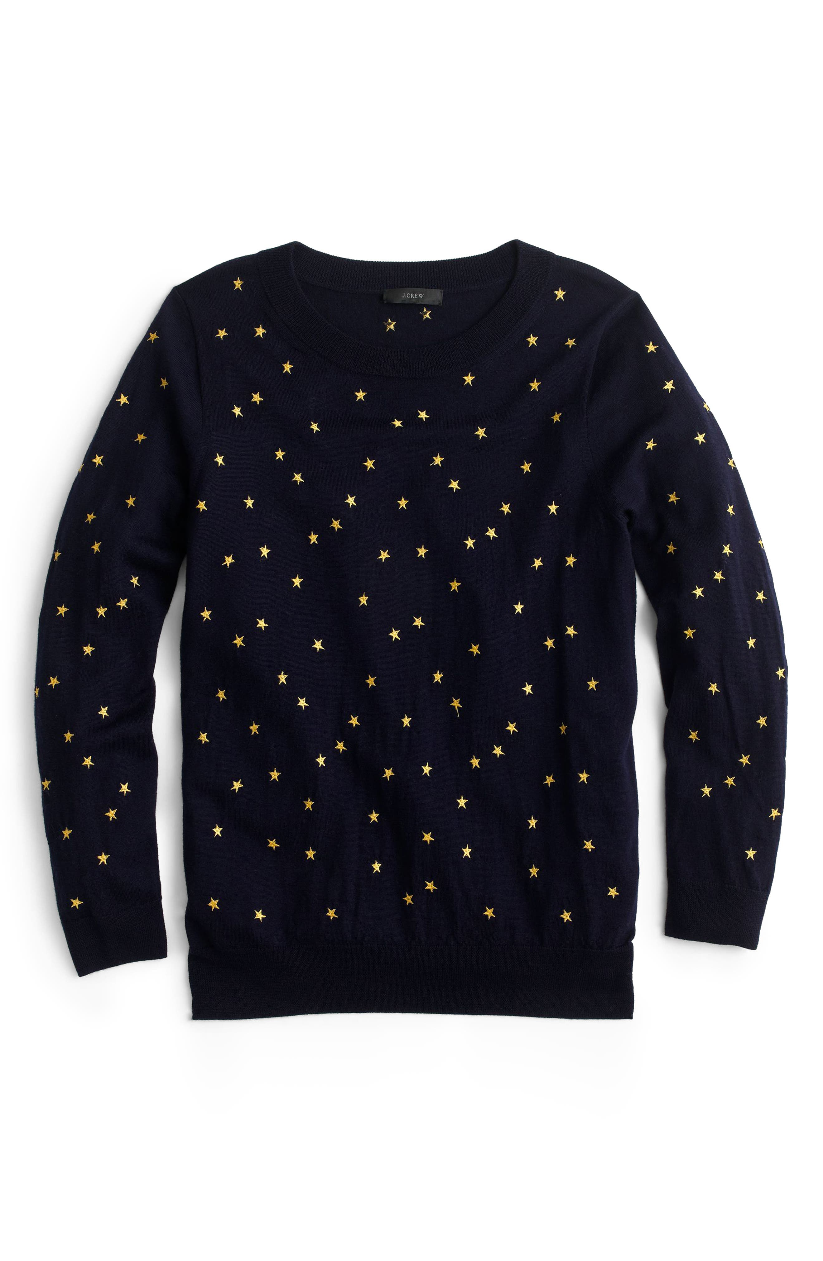 ,                             Tippi Embroidered Stars Sweater,                             Alternate thumbnail 4, color,                             NAVY GOLD