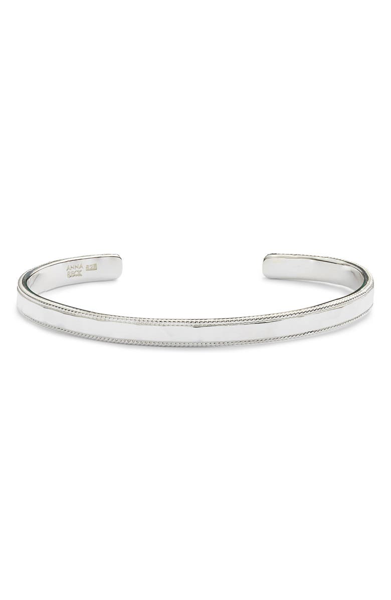 ANNA BECK Hammered Skinny Cuff, Main, color, SILVER