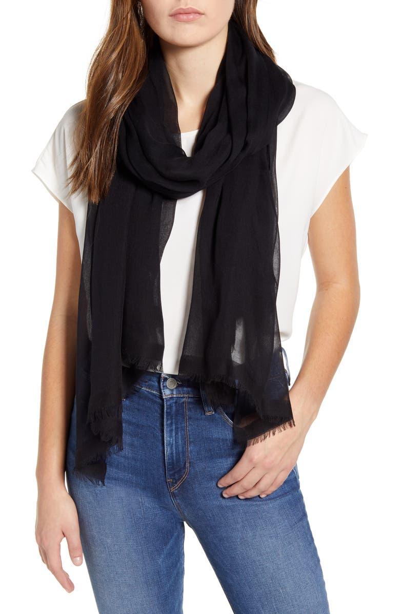 NORDSTROM Modal & Silk Stripe Scarf, Main, color, BLACK