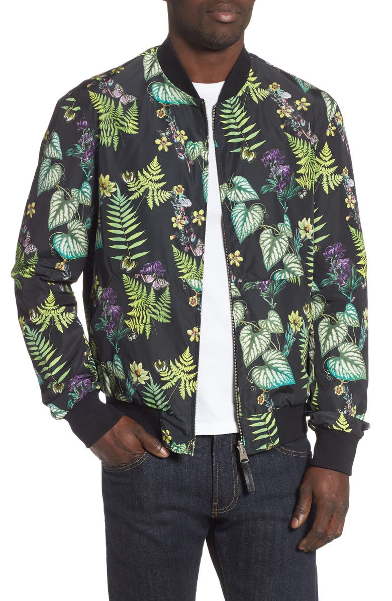 MACKAGE Dimos Reversible Bomber Jacket, Main, color, PRINT/ BLACK