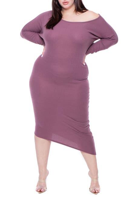 Image of Curvy Sense Asymmetrical Sweater Dress