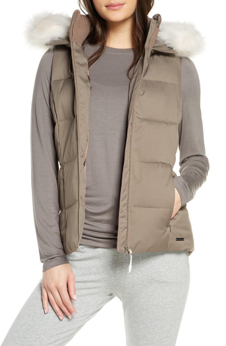 SWEATY BETTY North Pole Hooded Vest with Faux Fur Trim, Main, color, DARK TAUPE