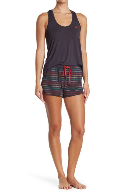 Image of PJ SALVAGE Over the Rainbow Striped Knit Sleep Shorts