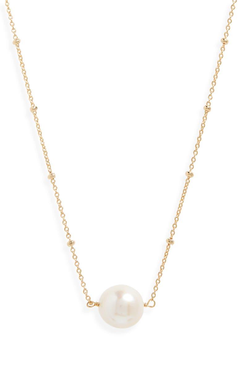 SEREFINA Delicate Genuine Pearl Necklace, Main, color, PEARL/ GOLD
