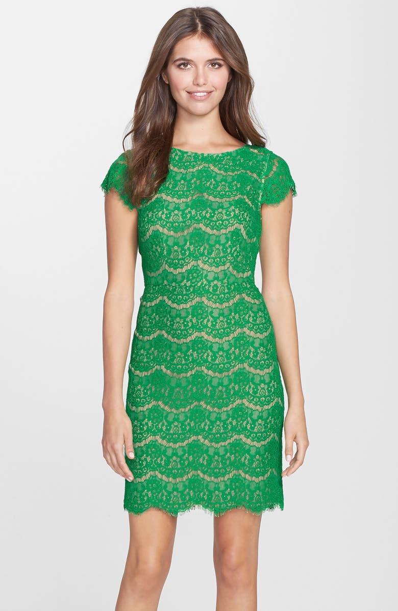 DARLING 'Candace' Scalloped Lace Sheath Dress, Main, color, EMERALD
