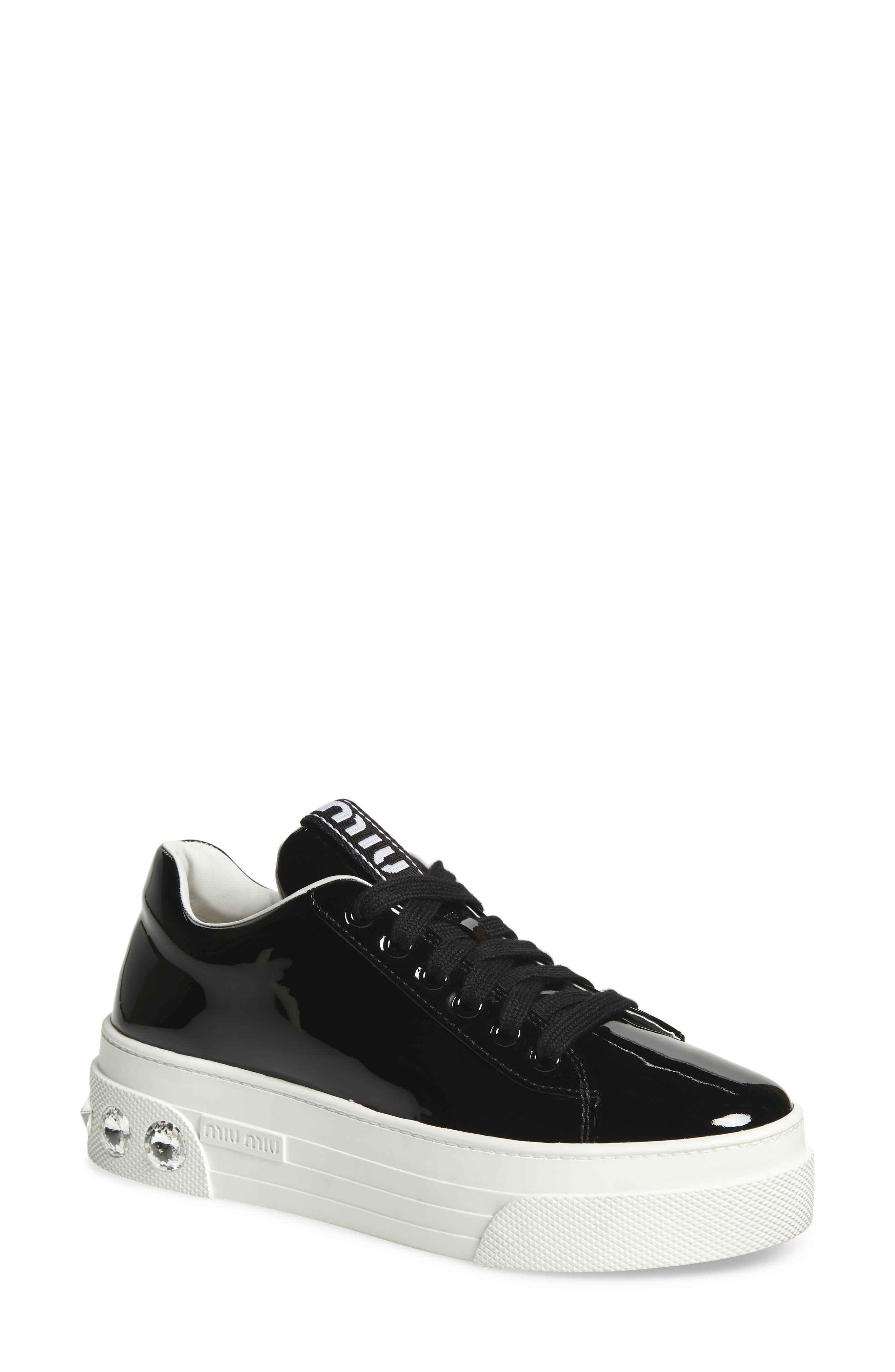 Miu Miu Crystal Detail Skate Sneaker - Black