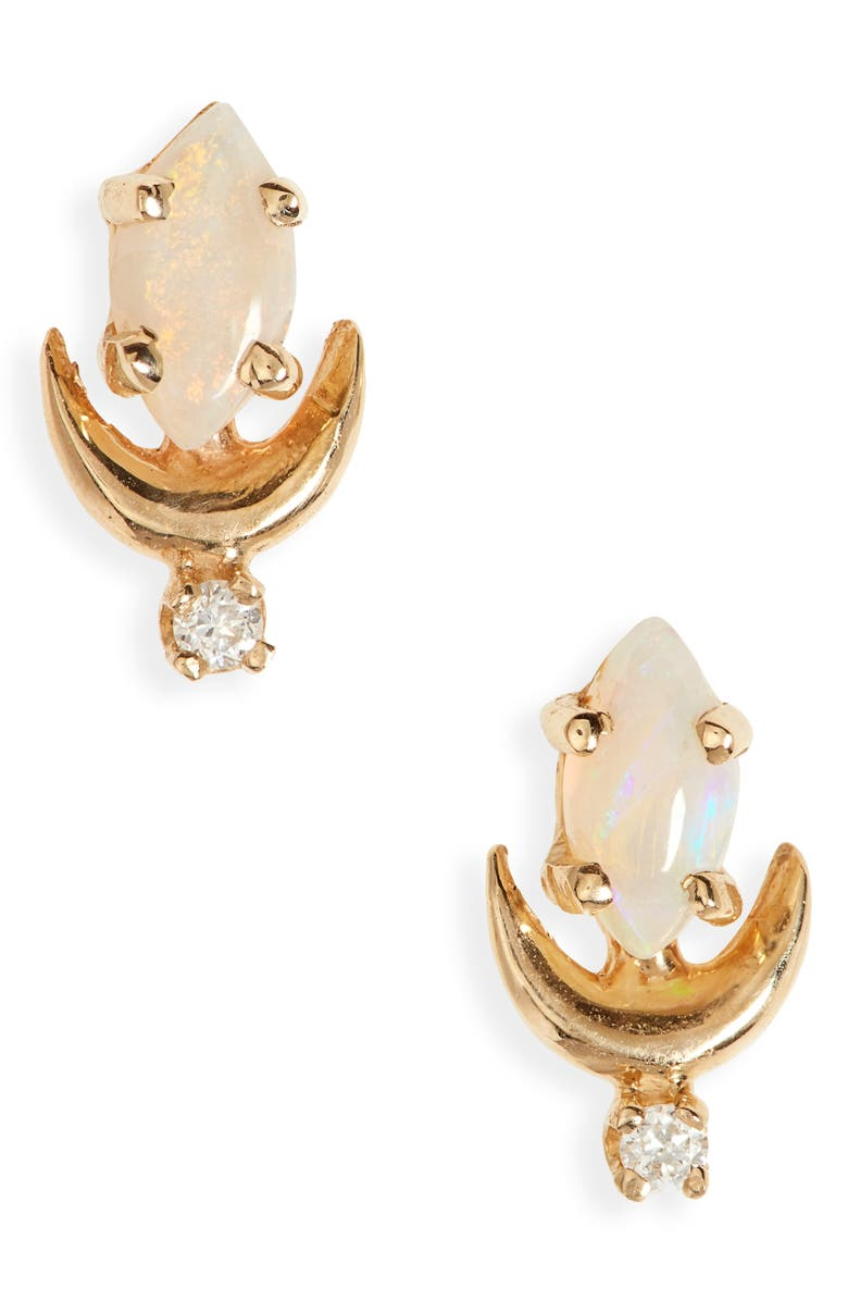 SOFIA ZAKIA Opal & Diamond Earrings, Main, color, GOLD