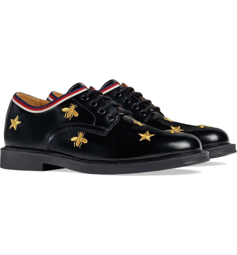 GUCCI Beyond Bees and Stars Derby, Main, color, BLACK/GOLD STARS