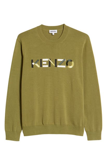 Kenzo Cottons MULTICO EMBROIDERED LOGO CREWNECK SWEATER