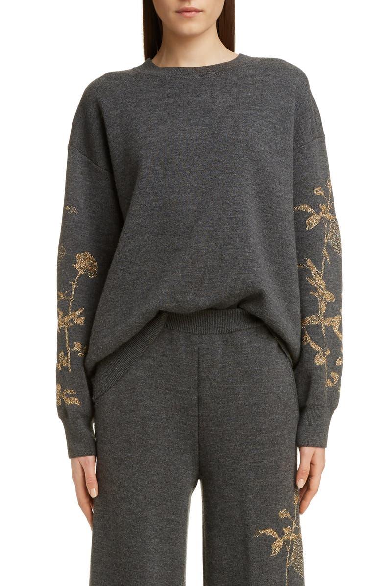 DRIES VAN NOTEN Tabasco Metallic Rose Merino Wool Blend Sweater, Main, color, ANT