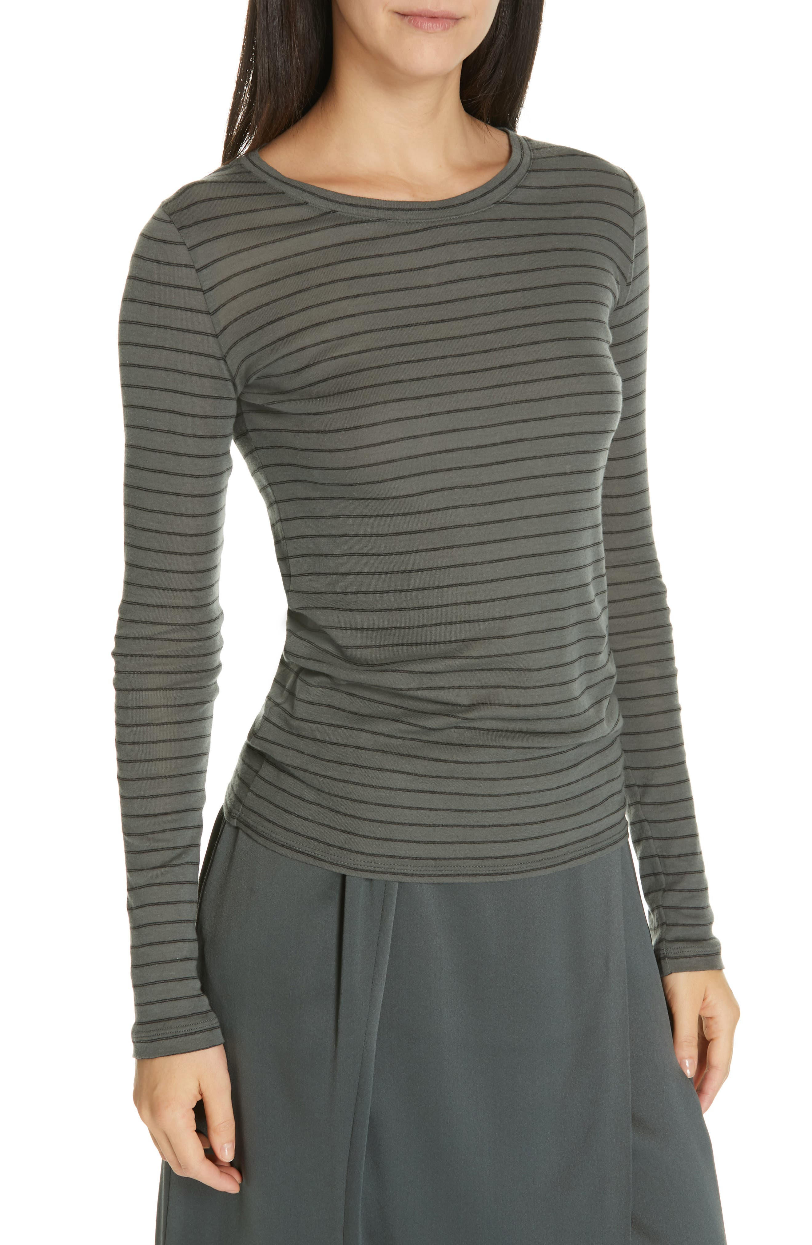 ,                             Double Pinstripe Top,                             Alternate thumbnail 4, color,                             MINERAL STONE/ BLACK