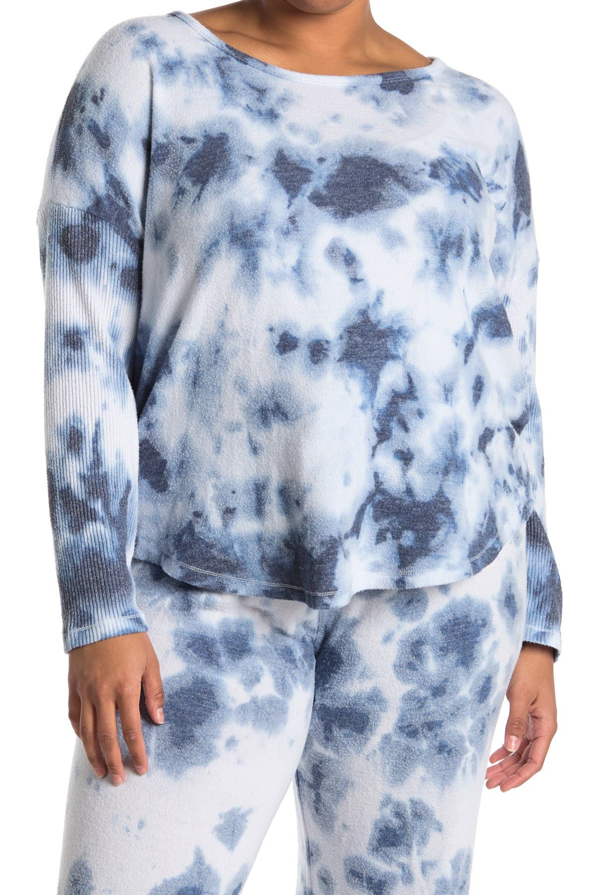 Image of Theo and Spence Tie Dye Print Rib Sleeve Swing Pullover Sweater