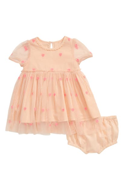 Stella Mccartney Babies' Girl's Hearts Embroidery Tulle Dress W/ Bloomers In Pink