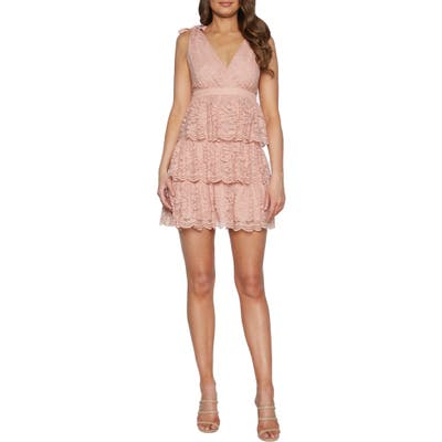 Bardot Roxie Lace Party Minidress, Pink