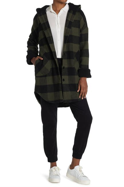 Image of RAG SUPPLY Plaid Coat With Shearling Hood