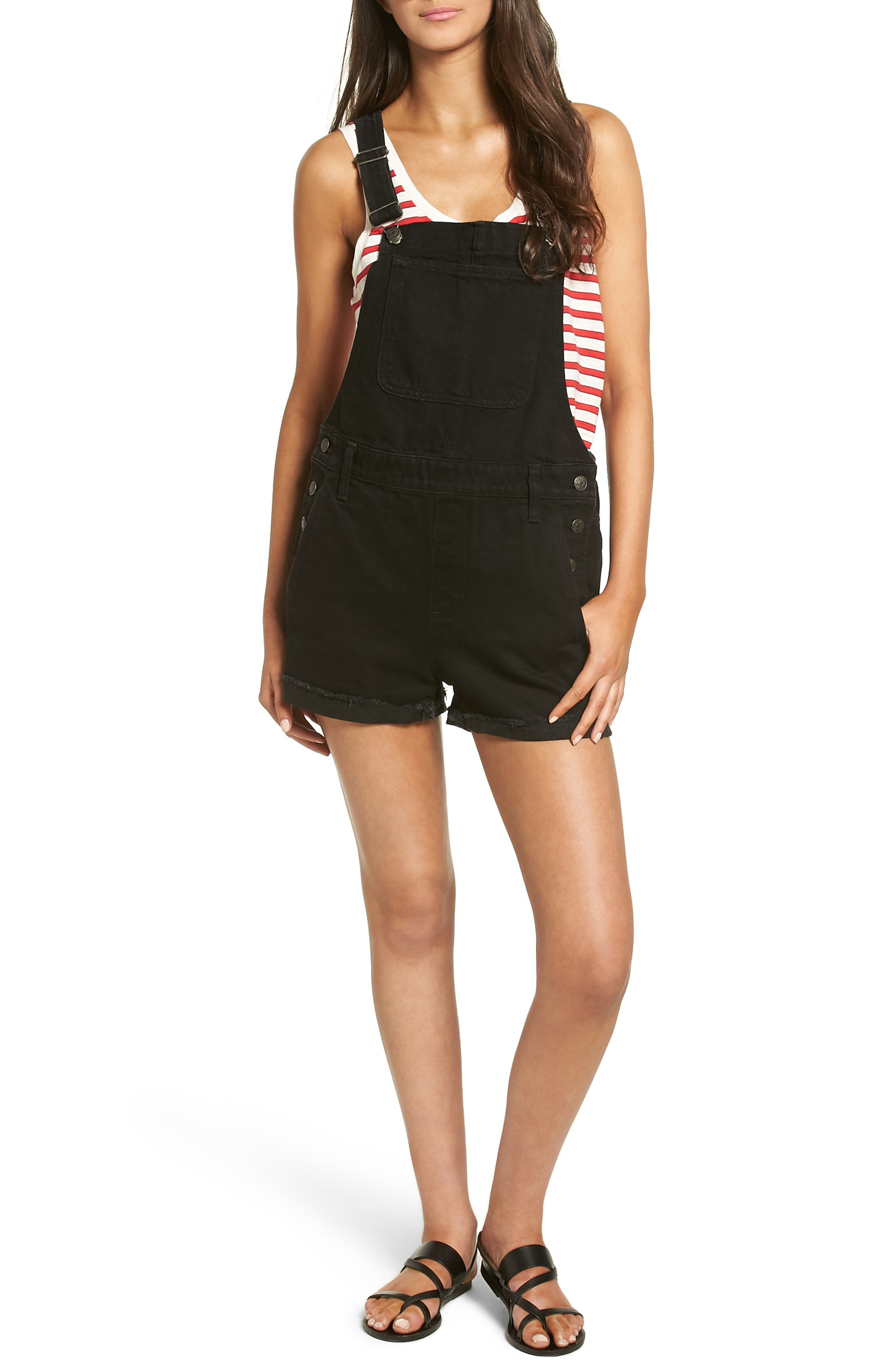 Image of Madewell Short Denim Overalls