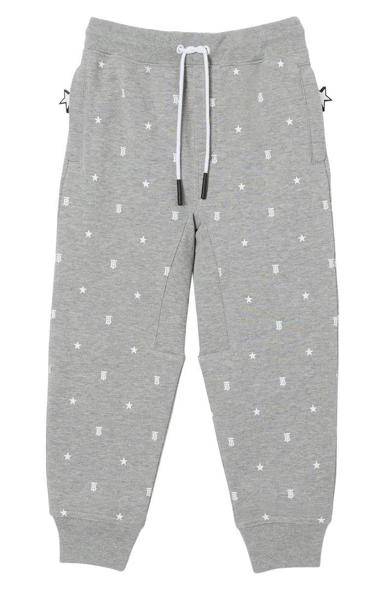 BURBERRY Kids' Gregory TB Star Print Joggers, Main, color, GREY IP PTTN