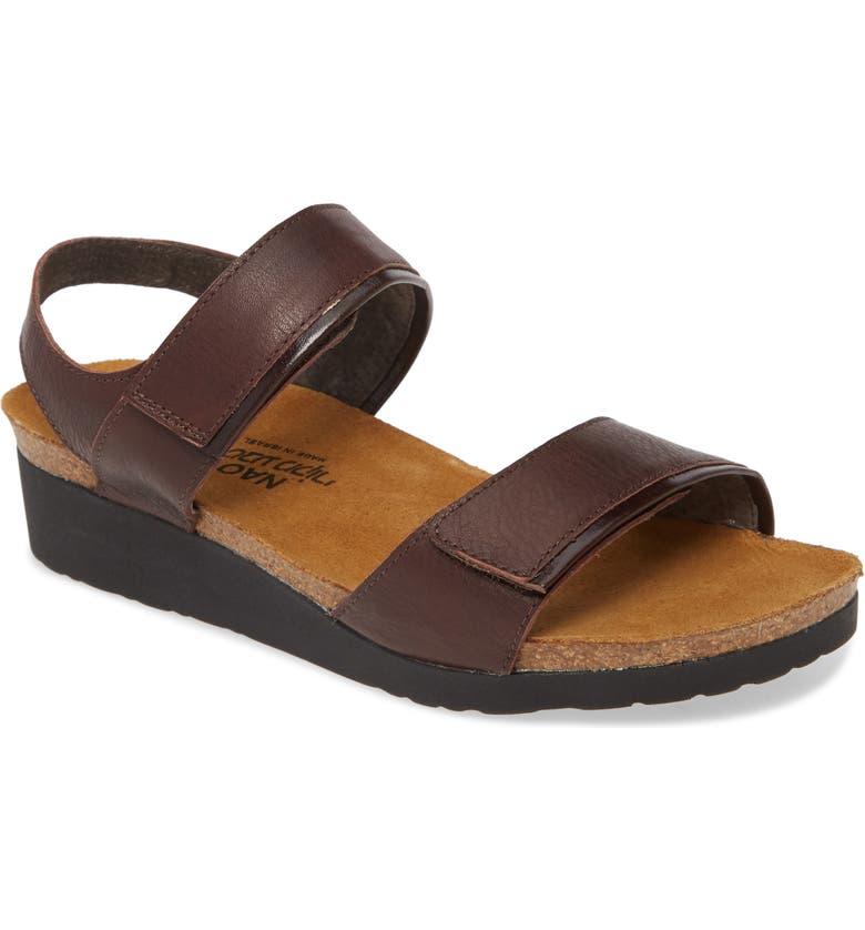 NAOT Aisha Wedge Sandal, Main, color, SOFT BROWN/ WALNUT LEATHER