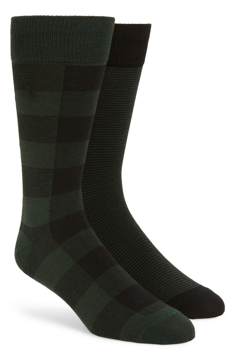 POLO RALPH LAUREN 2-Pack Buffalo Check & Stripe Slack Socks, Main, color, FOREST