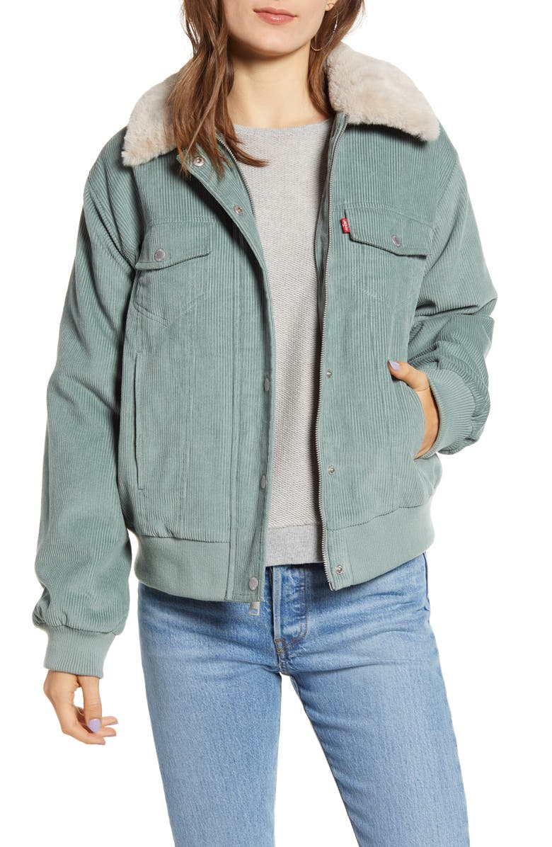LEVI'S<SUP>®</SUP> Faux Fur Collar Corduroy Bomber Jacket, Main, color, MINT