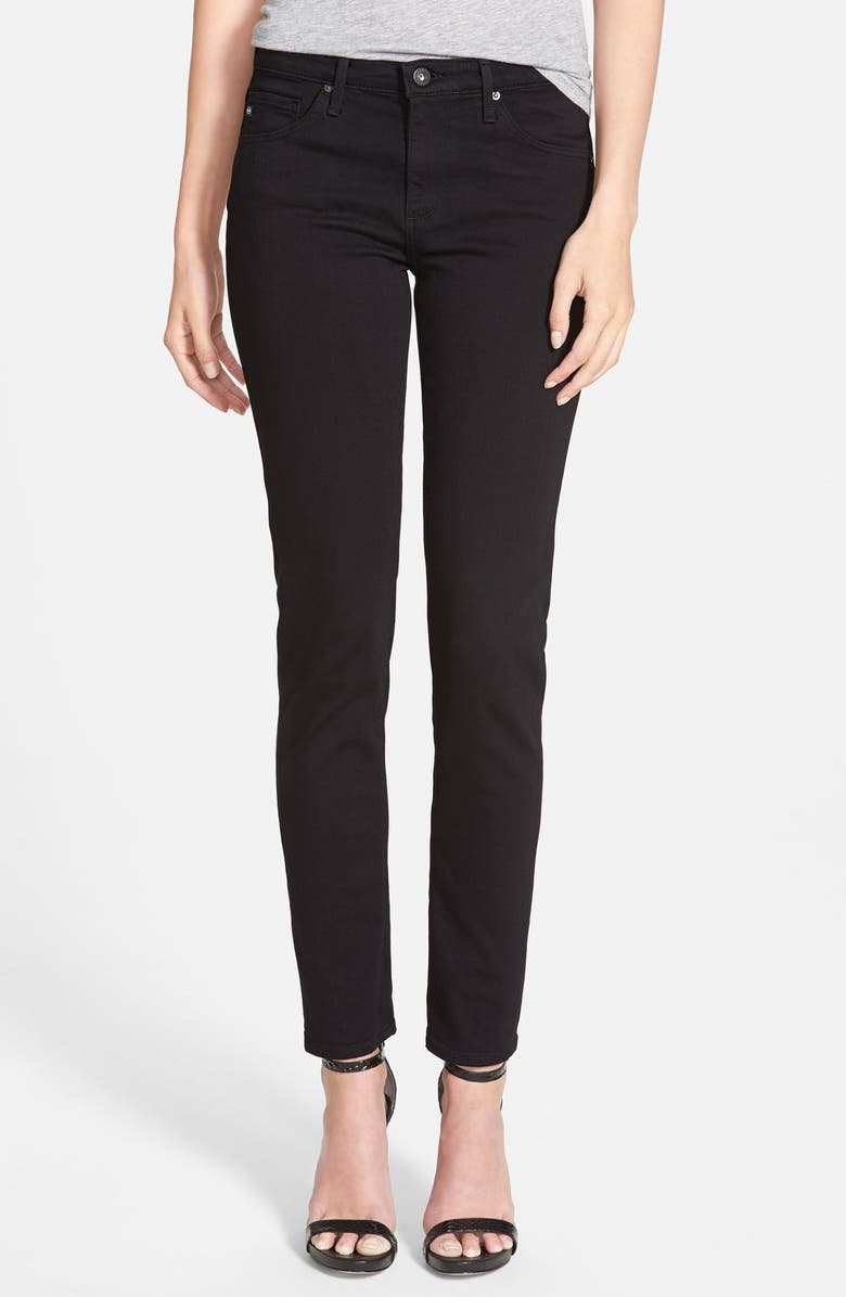 AG 'Prima' Mid Rise Cigarette Jeans, Main, color, SUPER BLACK