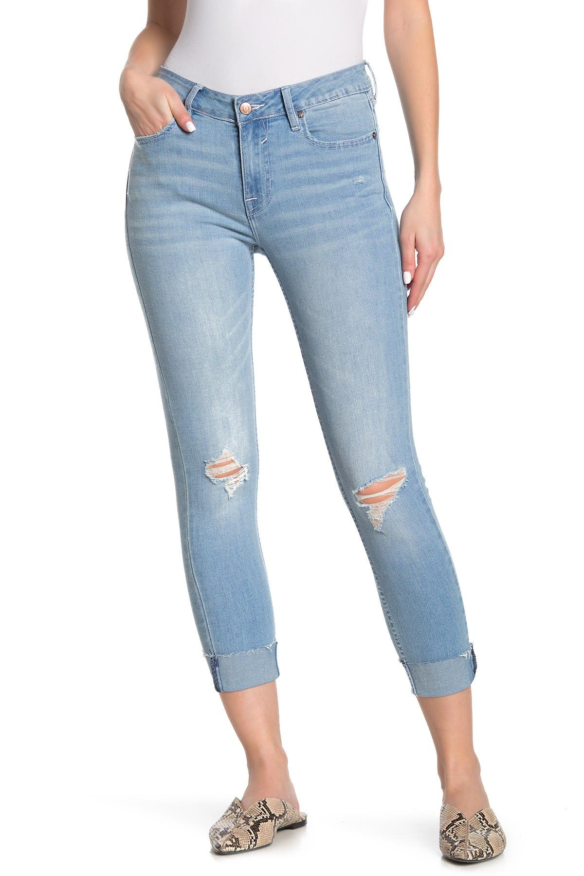 Image of Vigoss Marley Distressed Mid Rise Skinny Jeans