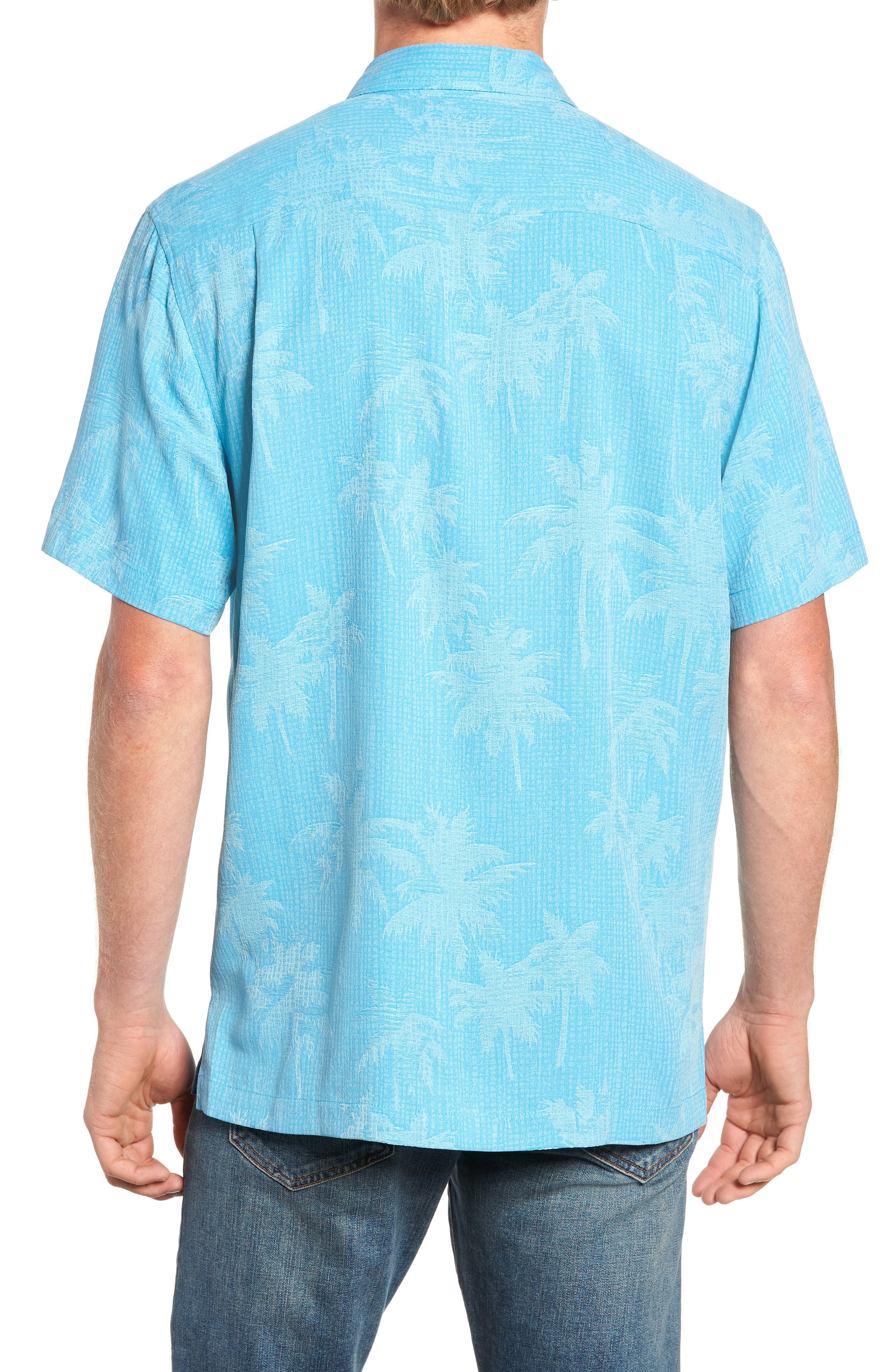 ,                             Digital Palms  Classic Fit Silk Sport Shirt,                             Alternate thumbnail 3, color,                             MAUI BLUE