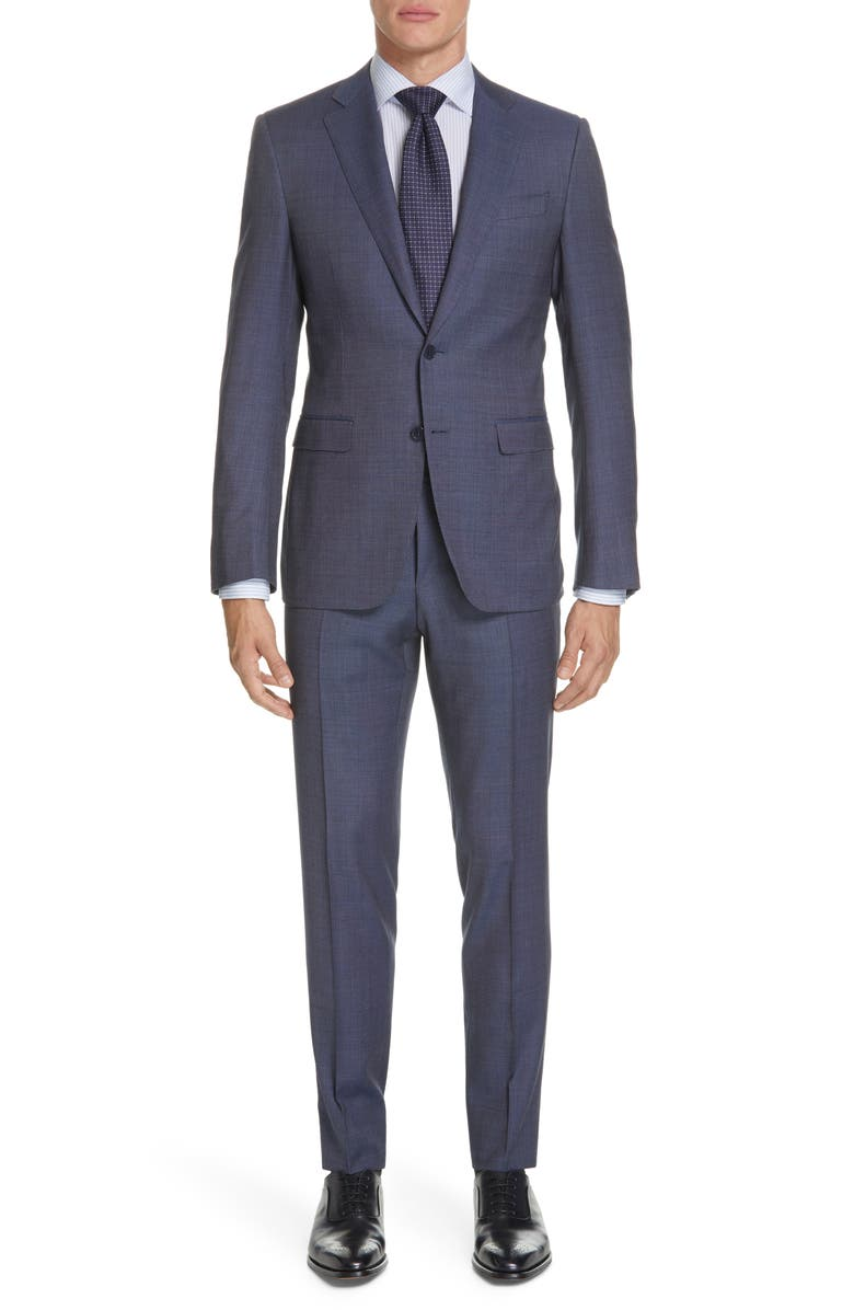 CANALI Milano Regular Fit Solid Wool Suit, Main, color, DARK BLUE