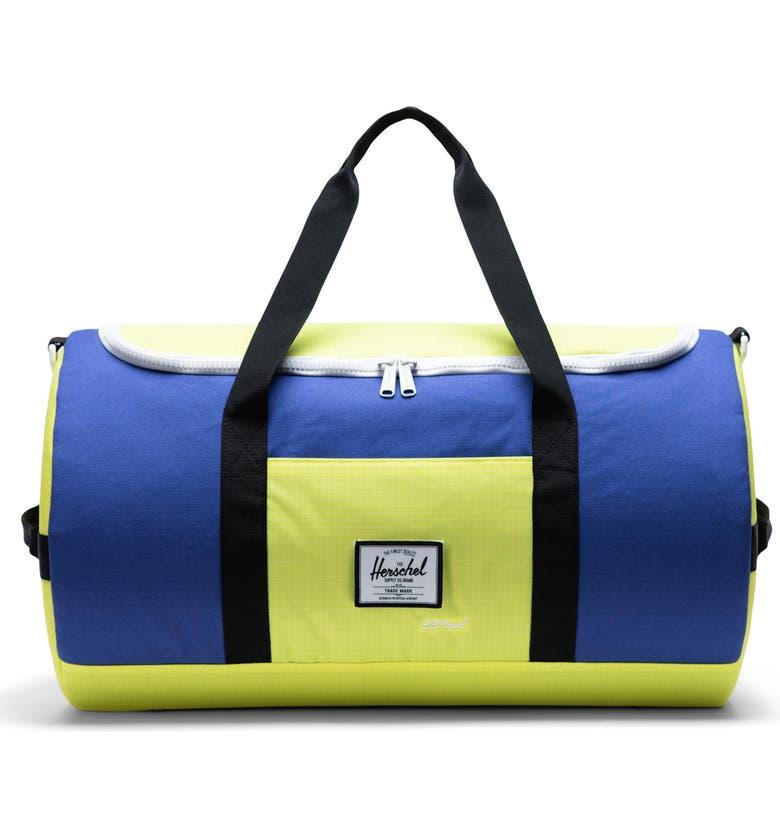 HERSCHEL SUPPLY CO. Sutton Colorblock Duffle Bag, Main, color, ROYAL BLUE/ SULPHUR SPRING