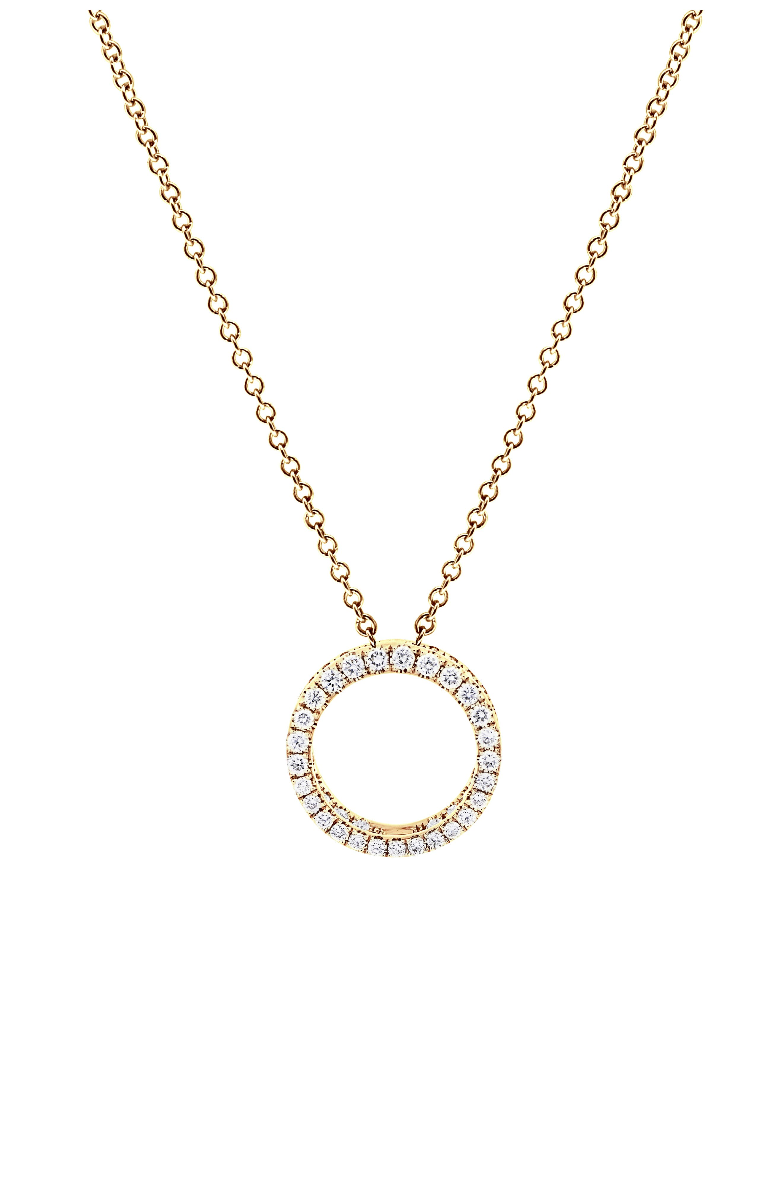 Split circles traced with round pave diamonds offer three dimensions of breathtaking sparkle in this glamorous, handcrafted necklace of 18-karat gold. Style Name: Bony Levy Bardot Medium 3D Circle Pendant Necklace (Nordstrom Exclusive). Style Number: 6063875. Available in stores.