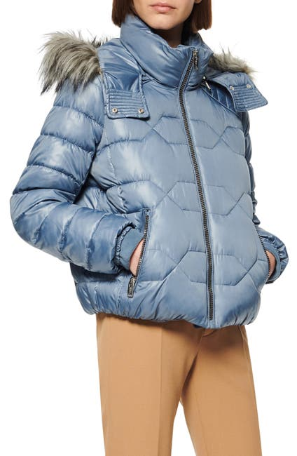 Image of Andrew Marc Faux Fur Trim Hood Puffer Jacket