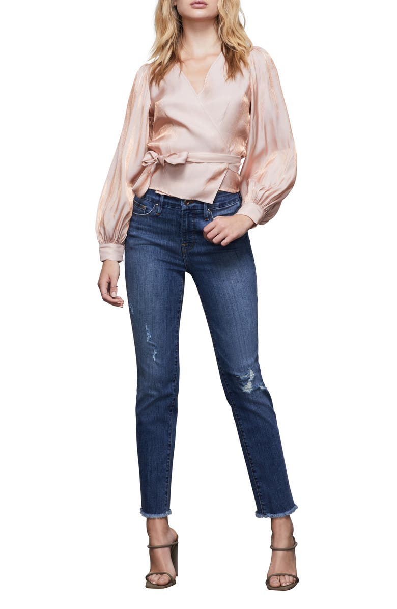 GOOD AMERICAN Good Straight Distressed High Waist Ankle Straight Leg Jeans, Main, color, BLUE407