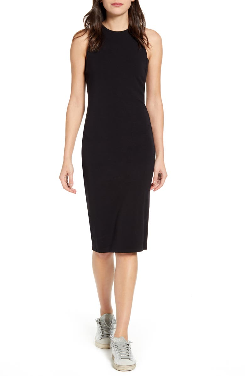 SPLENDID Stretch Double Face Sleeveless Dress, Main, color, BLACK