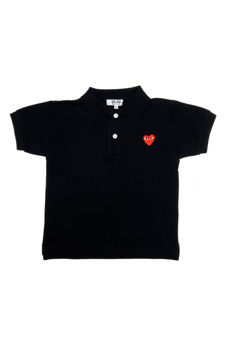 COMME DES GARÇONS PLAY Little Red Heart Polo, Main, color, BLACK