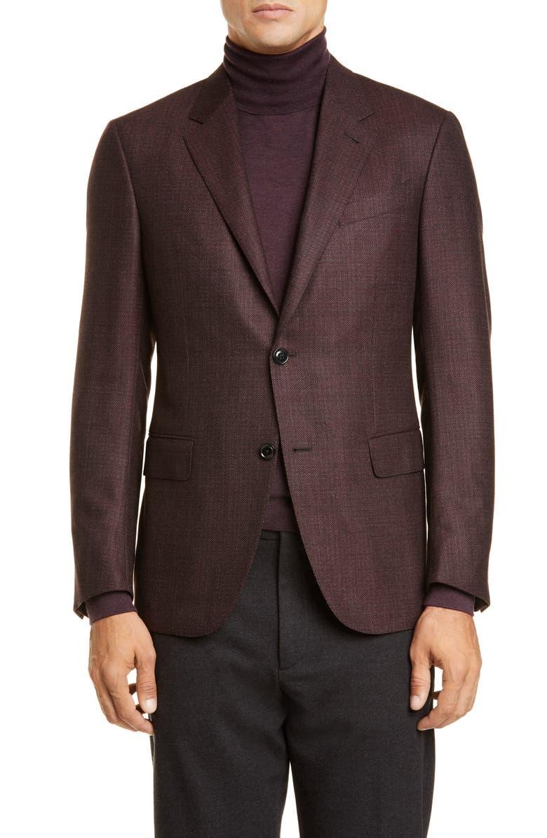 ERMENEGILDO ZEGNA Milano Classic Fit Bird's Eye Wool Sport Coat, Main, color, BURGUNDY