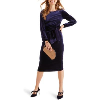 Boden Julianna Velvet Tie Waist Sheath Dress, Blue