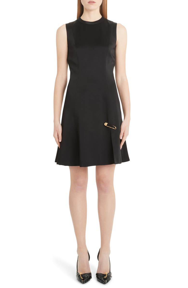 VERSACE Safety Pin A-Line Dress, Main, color, BLACK