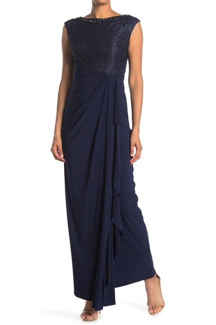 Image of Marina Beaded Cap Sleeve Gown