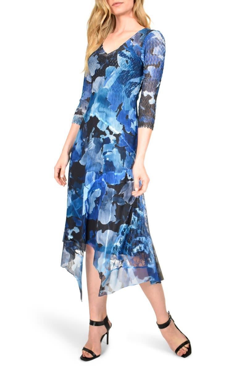 KOMAROV Floral Charmeuse & Chiffon Midi Dress, Main, color, MIDNIGHT ROSE