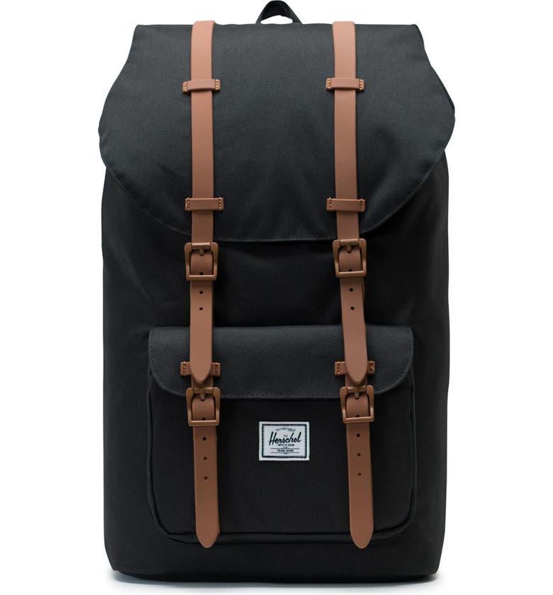 HERSCHEL SUPPLY CO. Little America Backpack, Main, color, BLACK/ SADDLE BROWN
