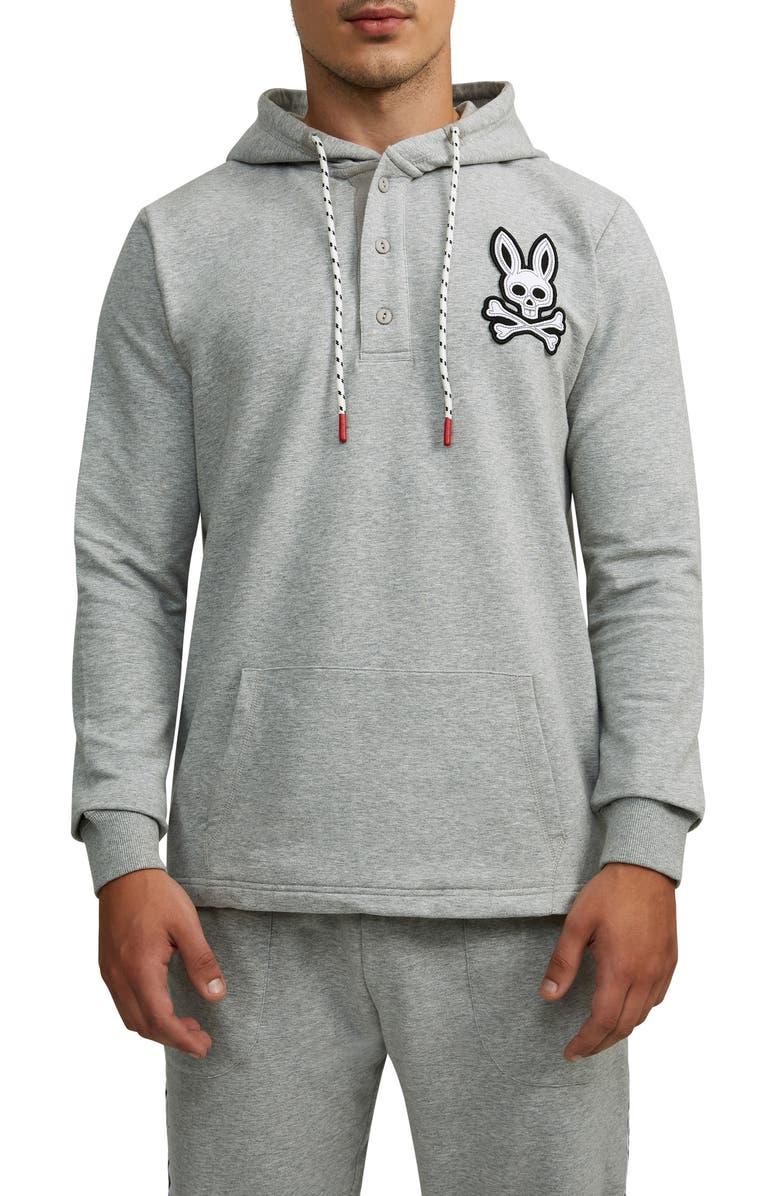 PSYCHO BUNNY Epworth Logo Appliqué Henley Hoodie, Main, color, 062 HEATHER GREY