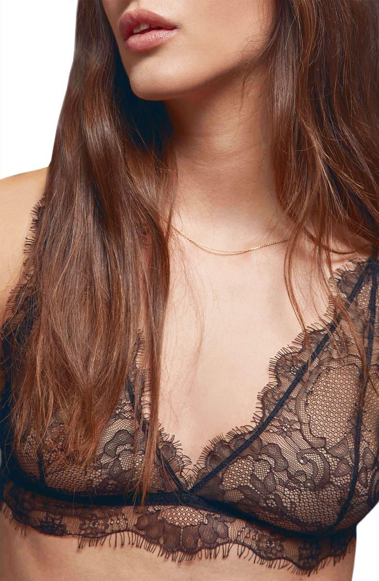 ANINE BING Delicate Lace Bralette, Main, color, 001