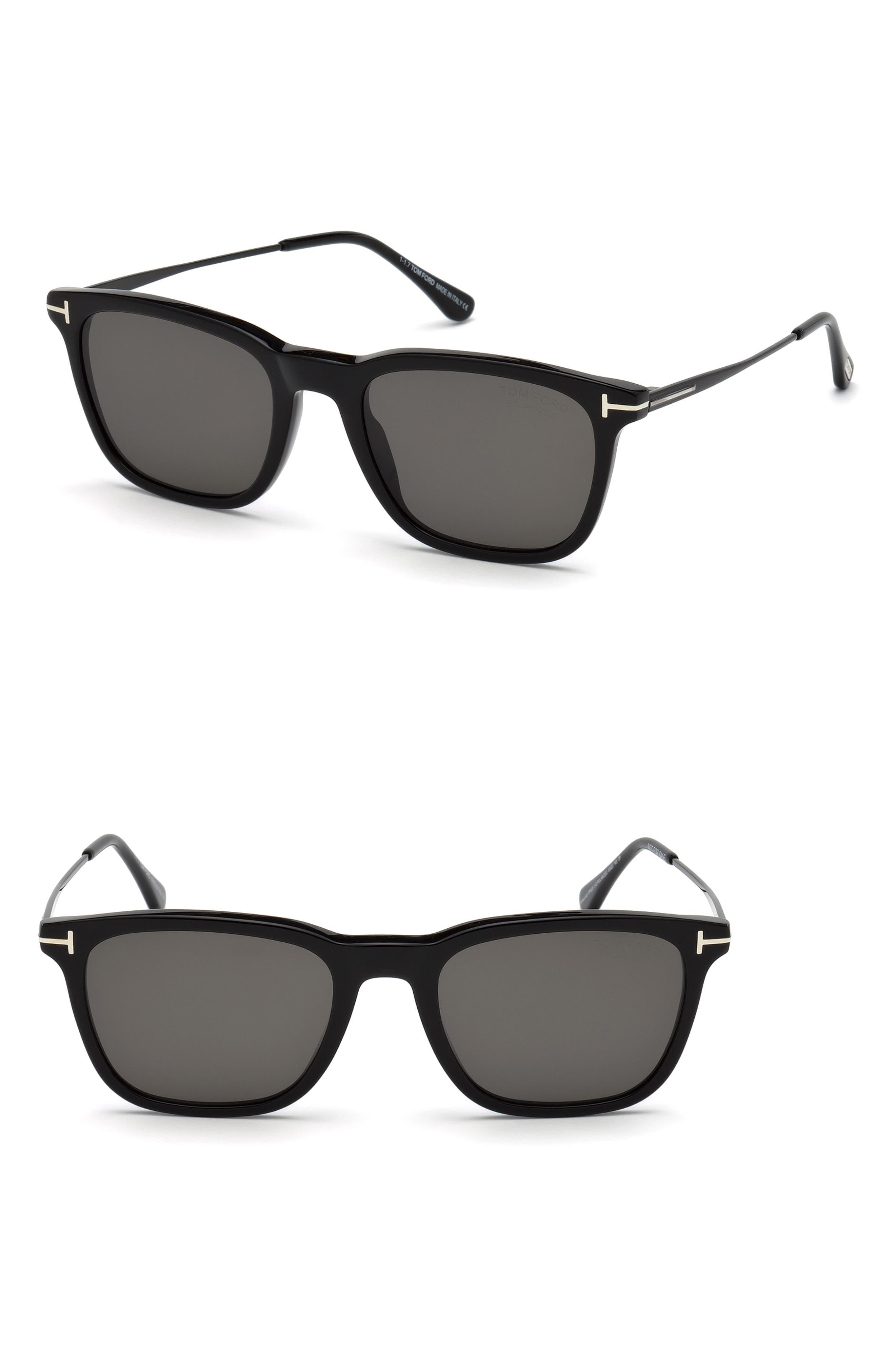 ,                             Arnaud 53mm Polarized Sunglasses,                             Main thumbnail 1, color,                             SHINY BLACK / SMOKE POLARIZED