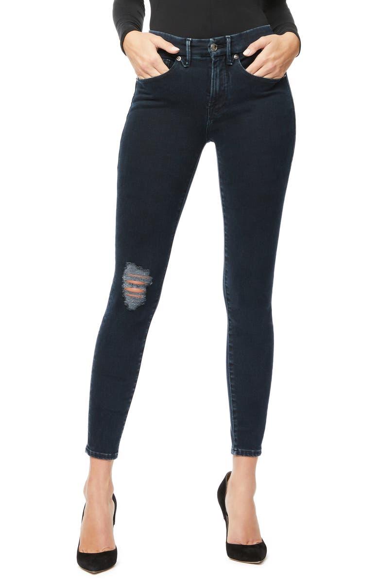 GOOD AMERICAN Good Legs High Waist Ankle Skinny Jeans, Main, color, BLUE308