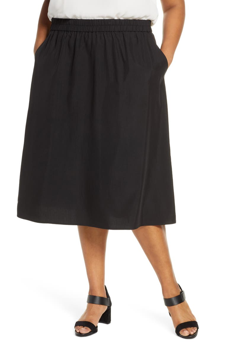 EILEEN FISHER Midi Skirt, Main, color, BLACK