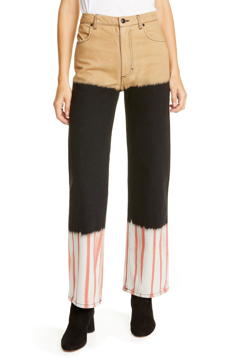 ECKHAUS LATTA Stack Dyed Wide Leg Jeans, Main, color, TRI-STACKED