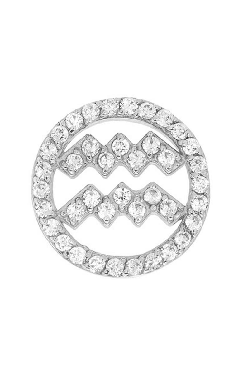 MINI MINI JEWELS Dazzling Diamond Zodiac Sign Earring, Main, color, WHITE GOLD-AQUARIUS