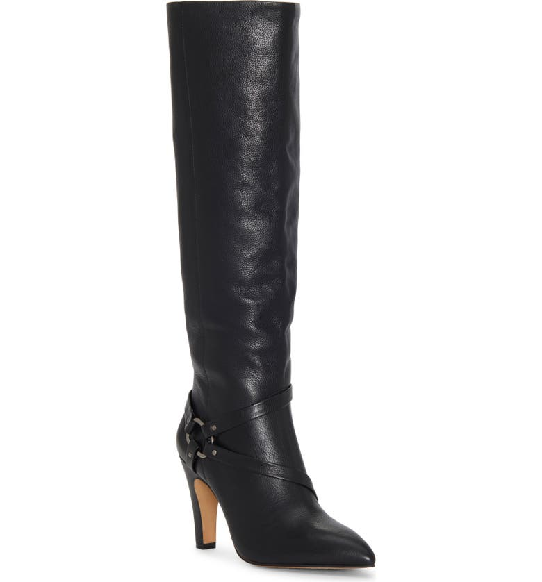 VINCE CAMUTO Charmina Knee High Boot, Main, color, BLACK LEATHER